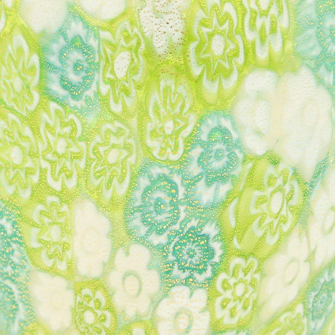 Golden Quilt Millefiori Urn Vase - Green
