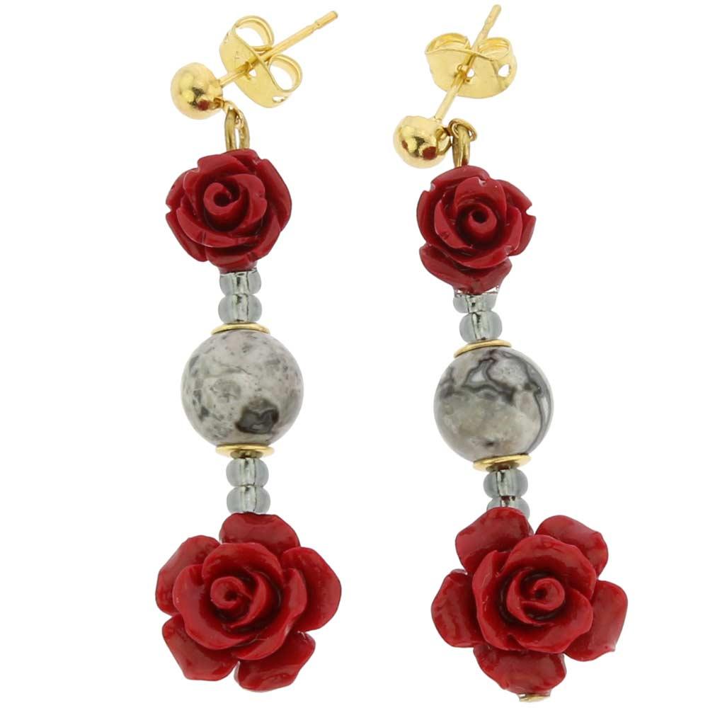 Rosa Di Marmo Murano Glass Earrings