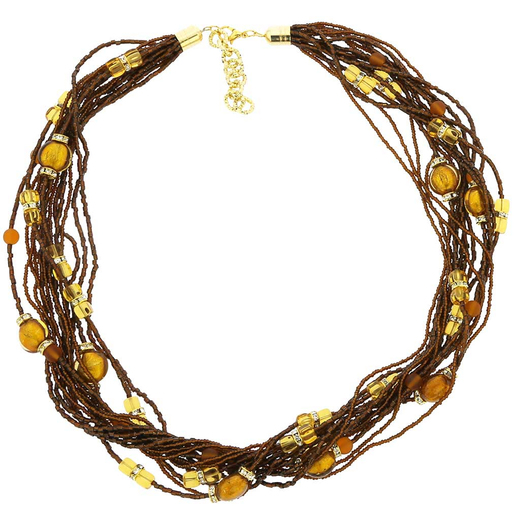 Alessia Murano Glass Necklace - Amber