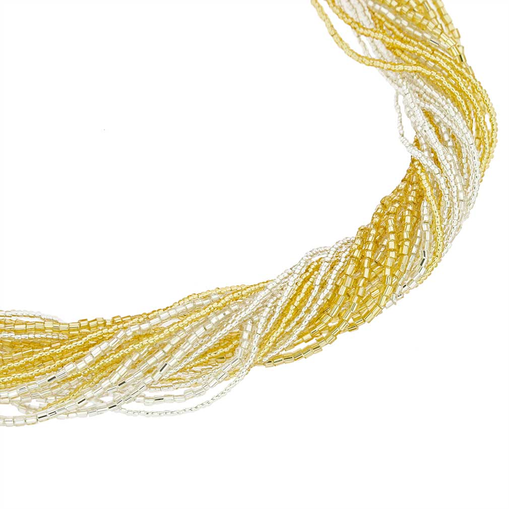 Gloriosa 24 Strand Seed Bead Murano Necklace - Gold and Silver