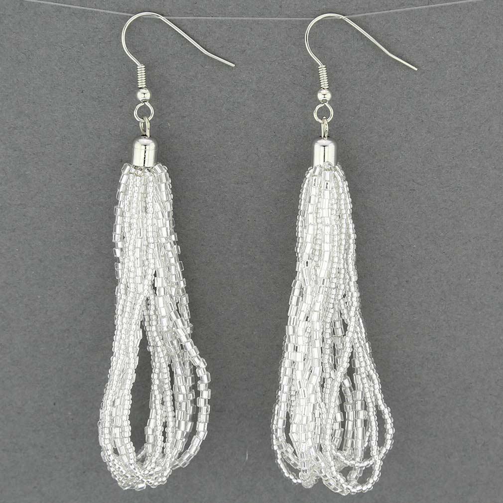 Gloriosa Seed Bead Murano Earrings - Silver White