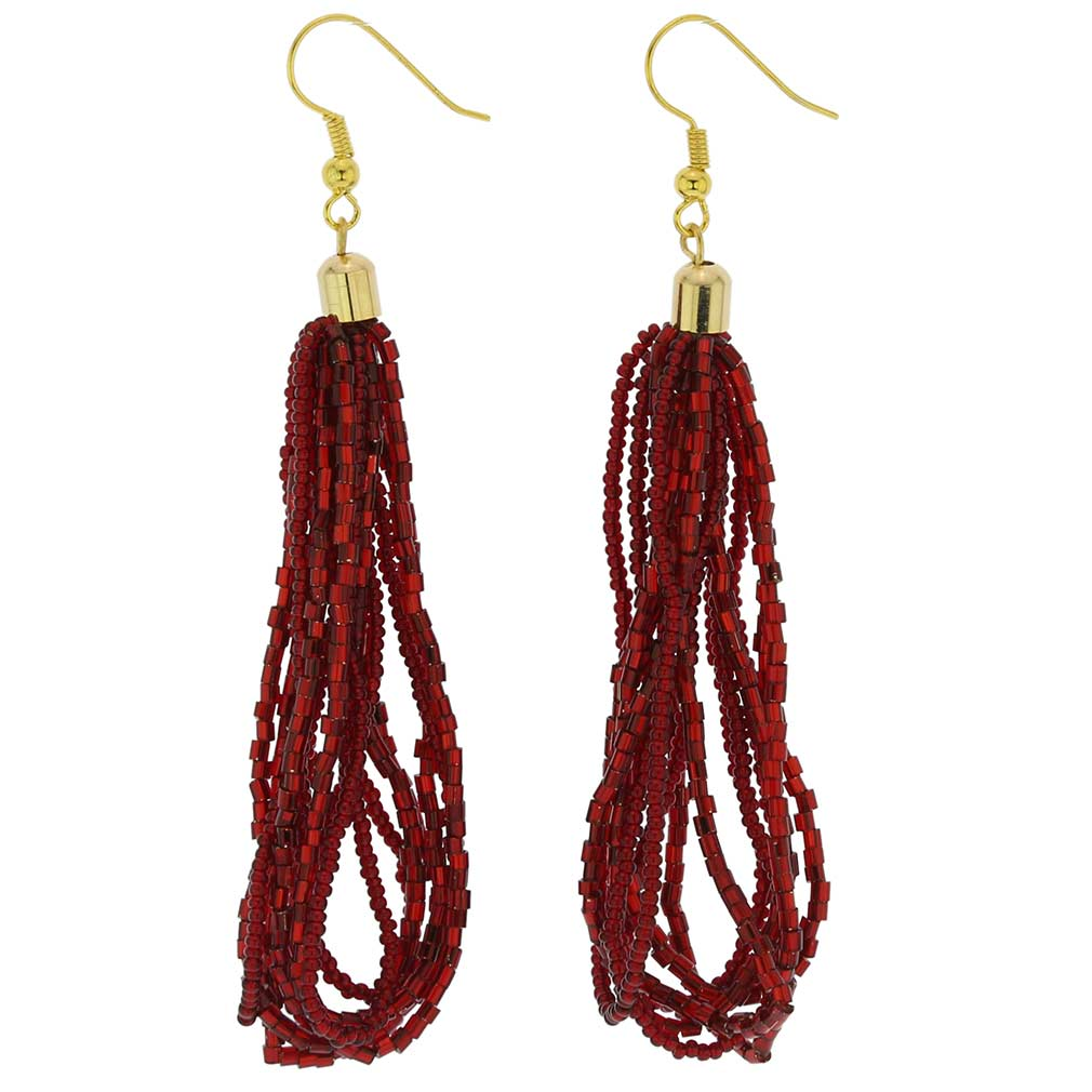 Gloriosa Seed Bead Murano Earrings - Red