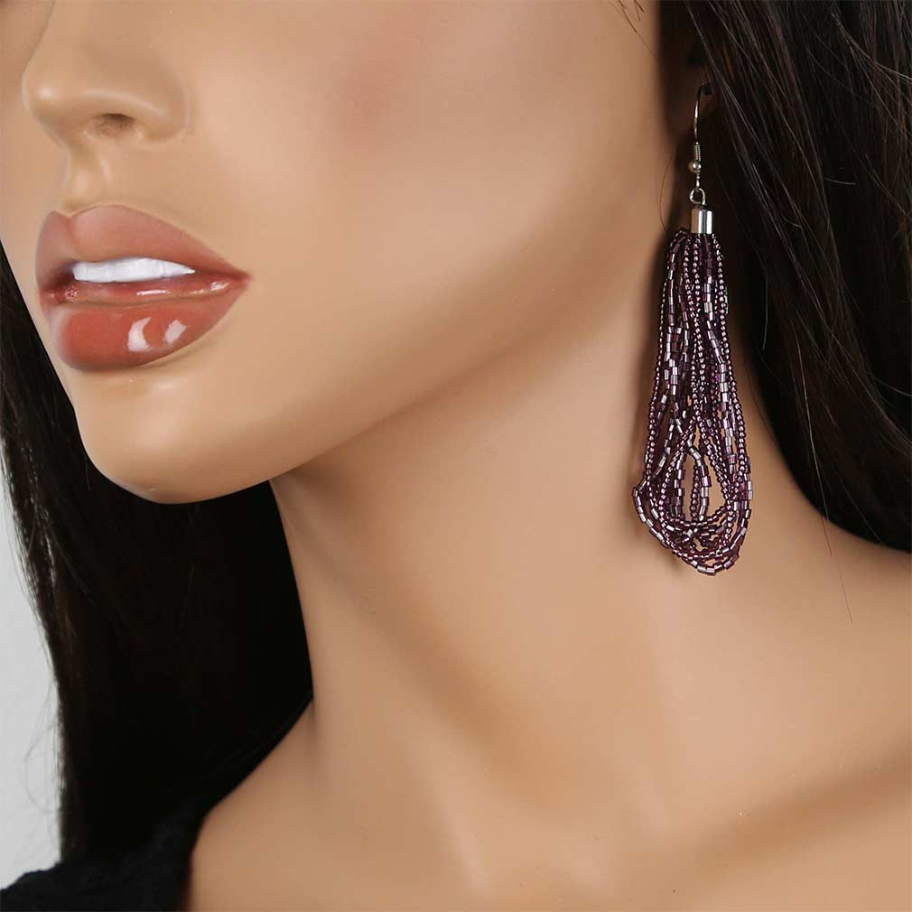 Gloriosa Seed Bead Murano Earrings - Amethyst