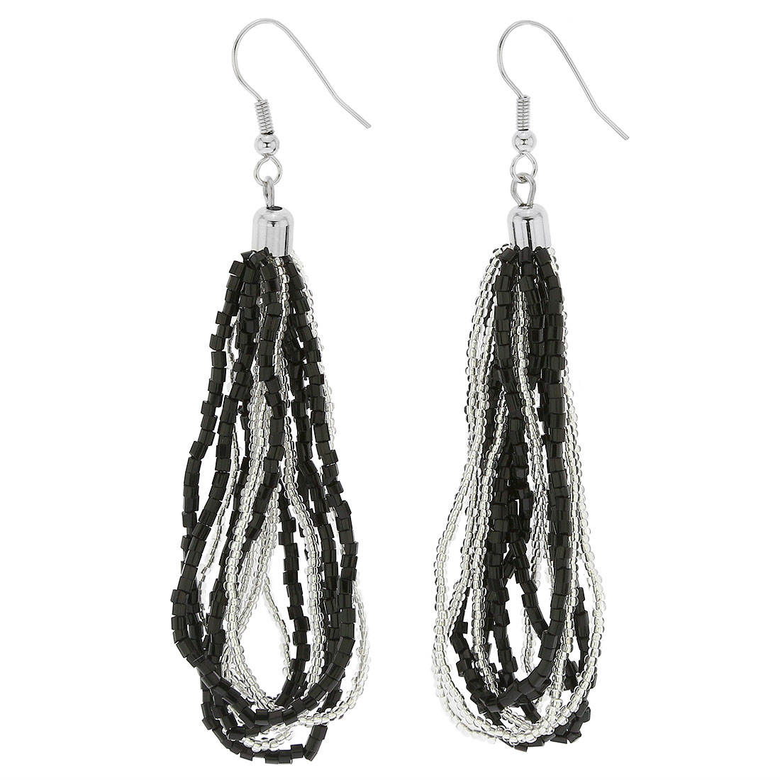 Gloriosa Seed Bead Murano Earrings - Silver Black