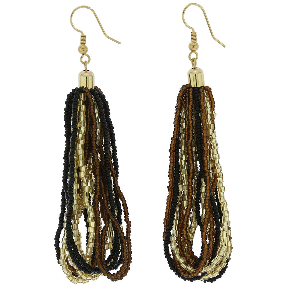 Gloriosa Seed Bead Murano Earrings - Topaz and Gold