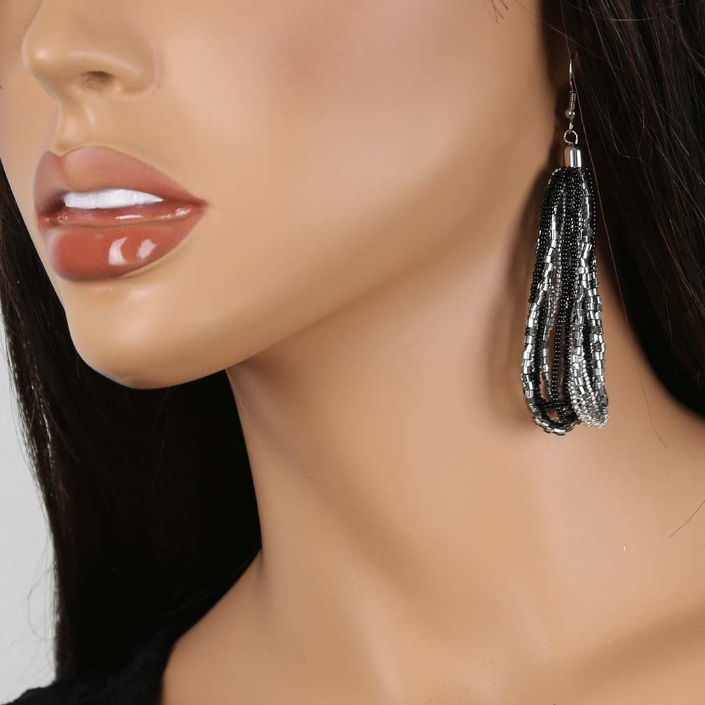 Gloriosa Seed Bead Murano Earrings - Silver Grey and Black