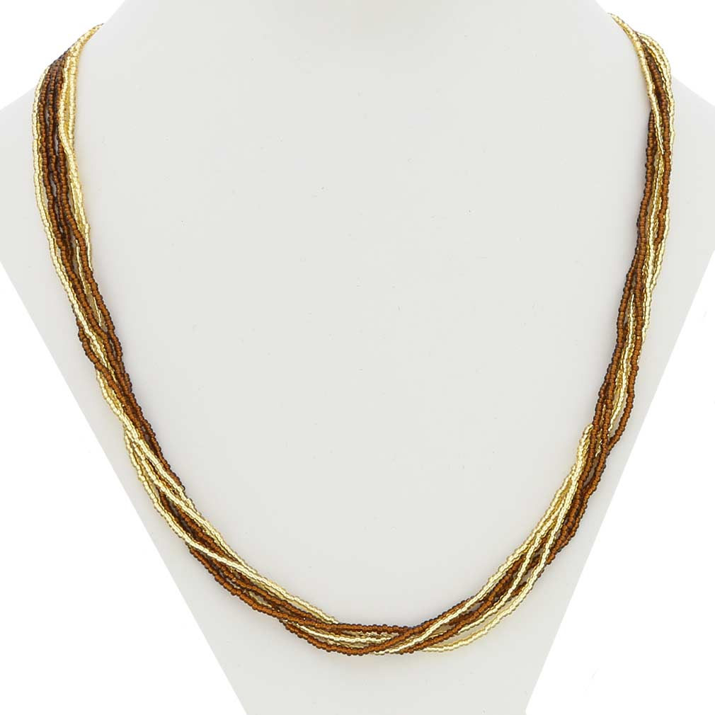 Gloriosa 6 Strand Seed Bead Murano Necklace - Topaz and Gold