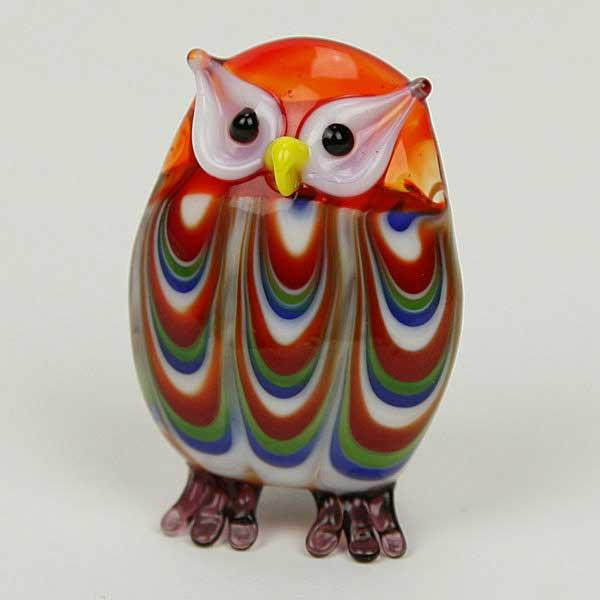 Art Glass Owl Figurine Fire Red
