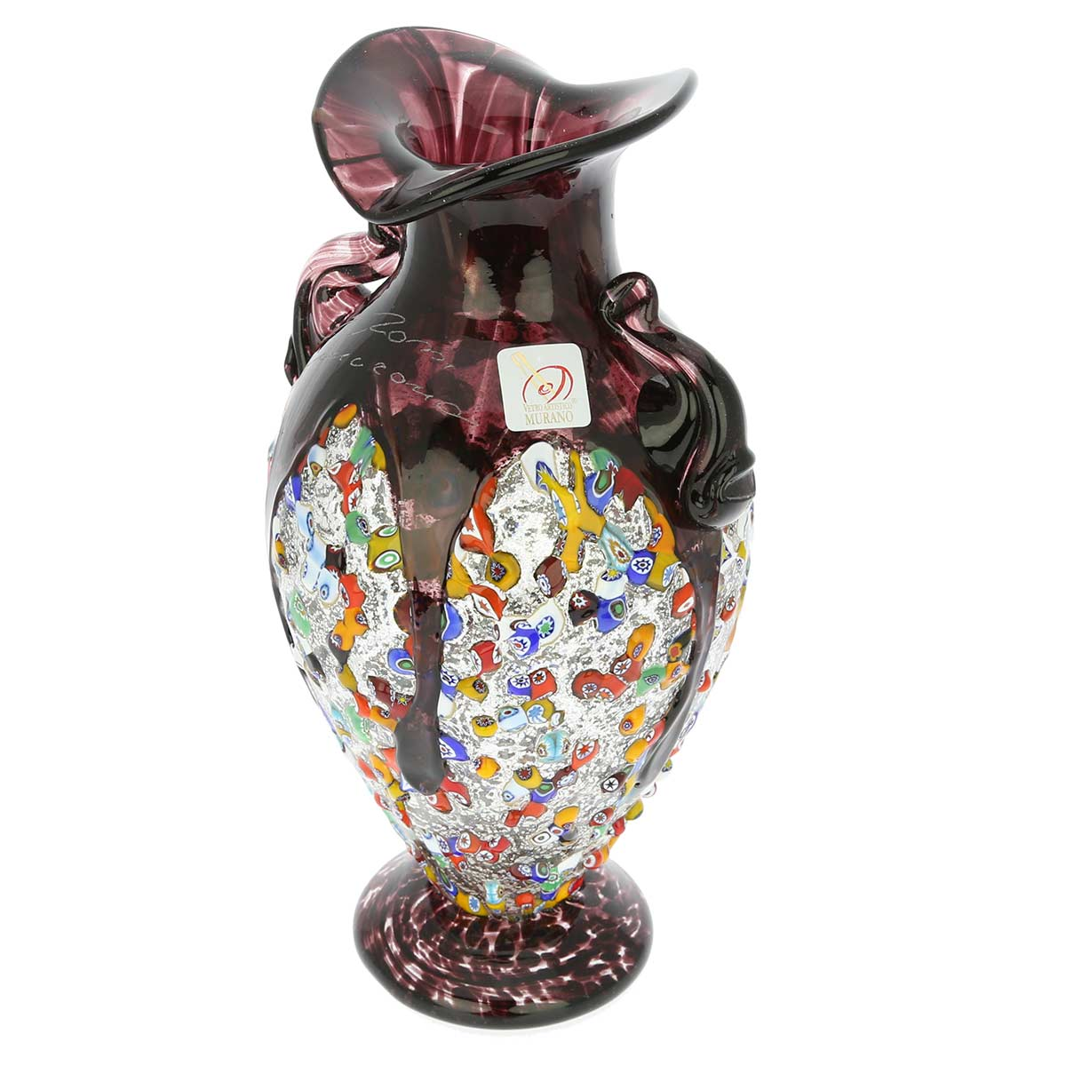 Murano Glass Millefiori Amphora Vase - Silver Amethyst