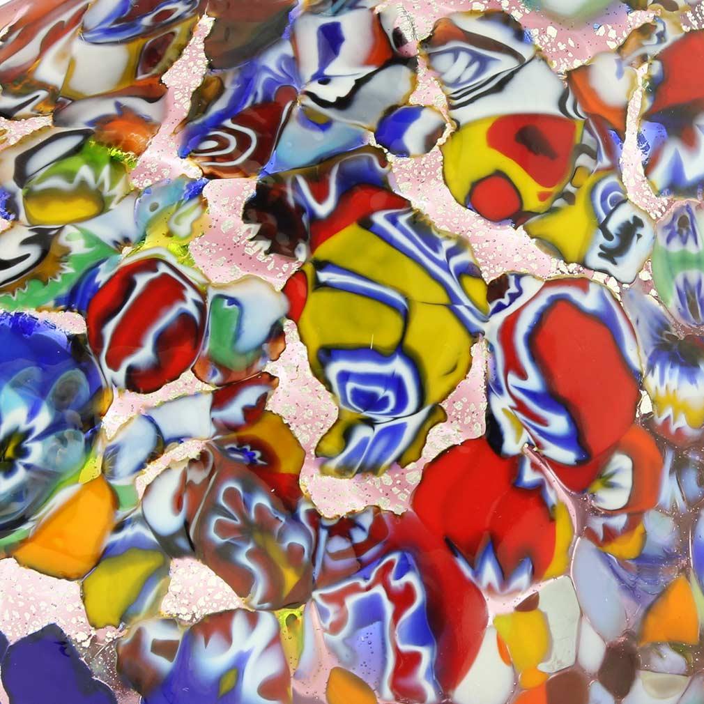 Murano Millefiori Fazzoletto Bowl - Silver Amethyst