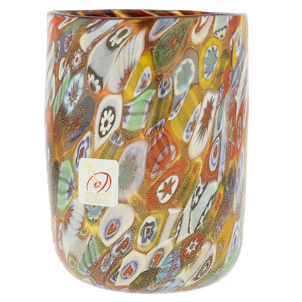 Murano Drinking Glass - Gold Millefiori