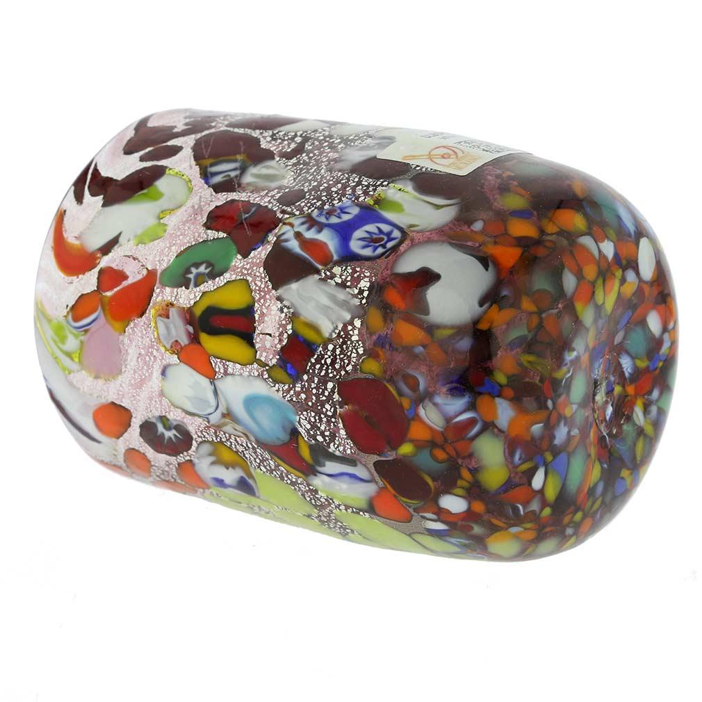 Murano Drinking Glass - Millefiori Silver Amethyst