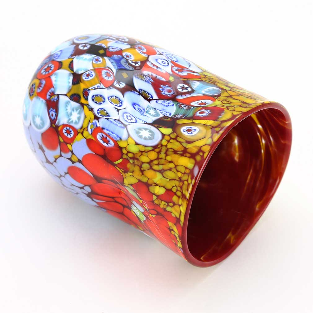 Murano Drinking Glass - Red Millefiori