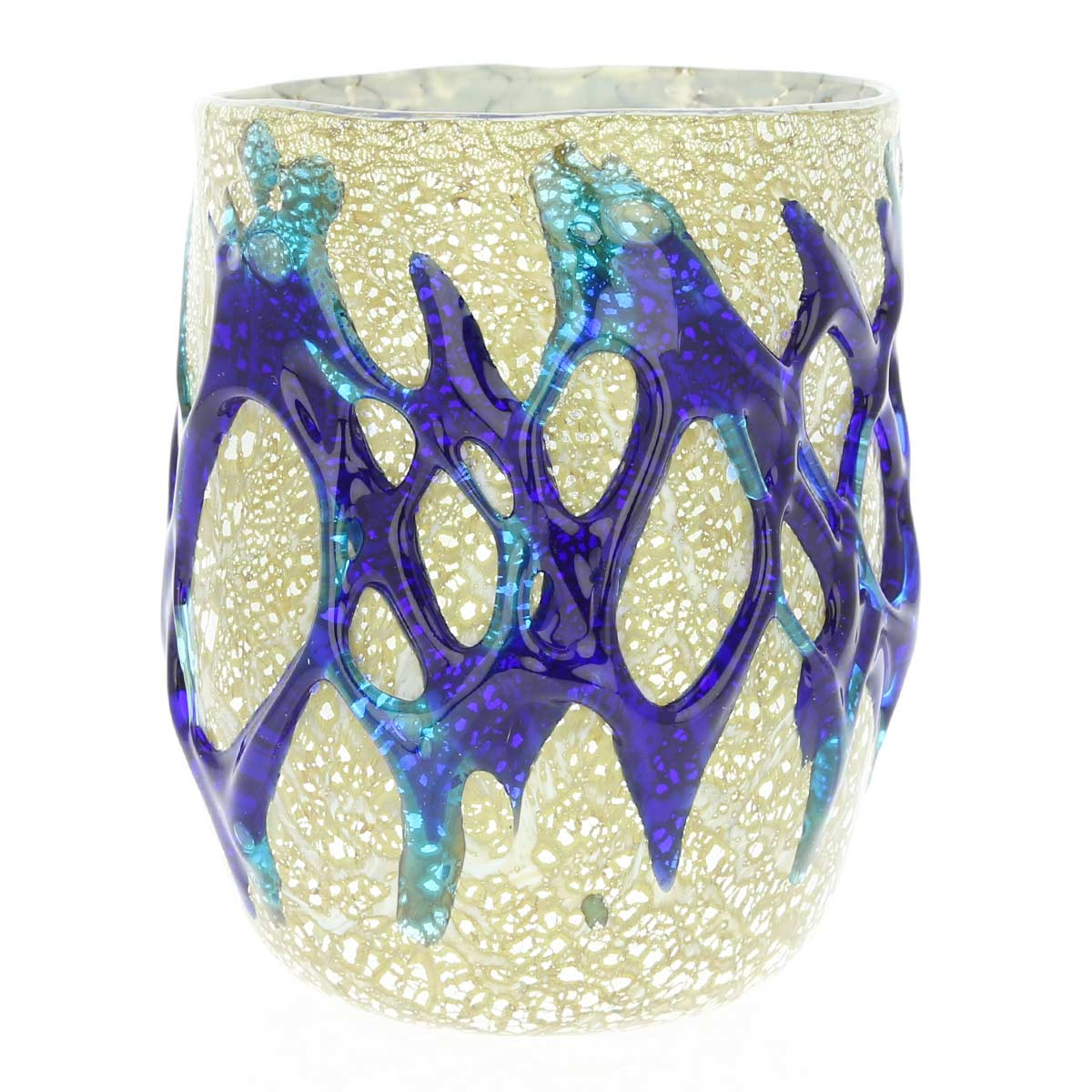 Murano Drinking Glass - Silver Leaf and Blue