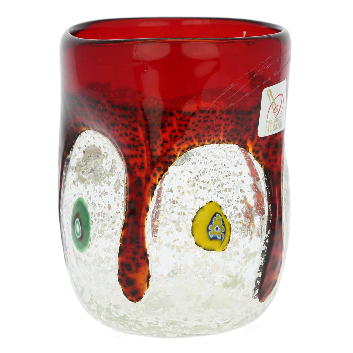 Murano Drinking Glass - Silver Liquid Burgundy Mosaic