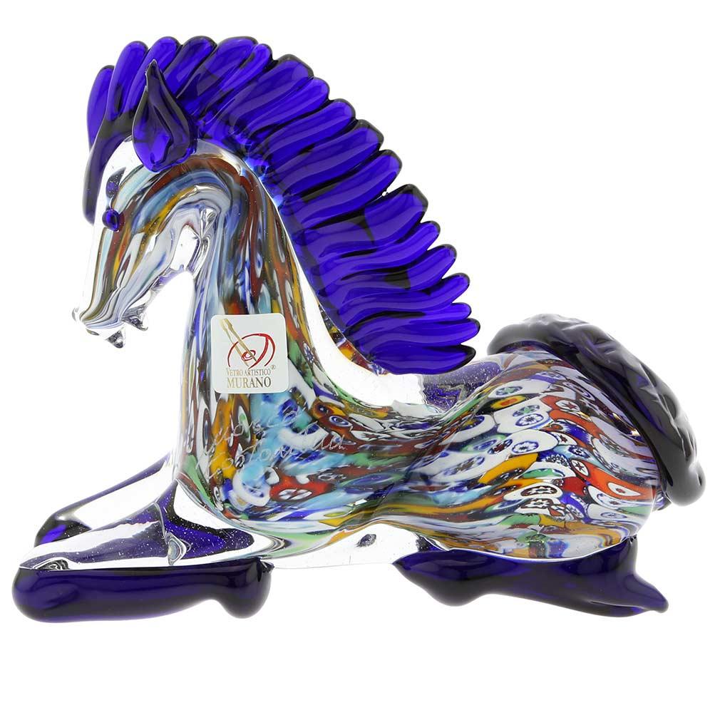 Murano Art Glass Millefiori Kneeling Horse
