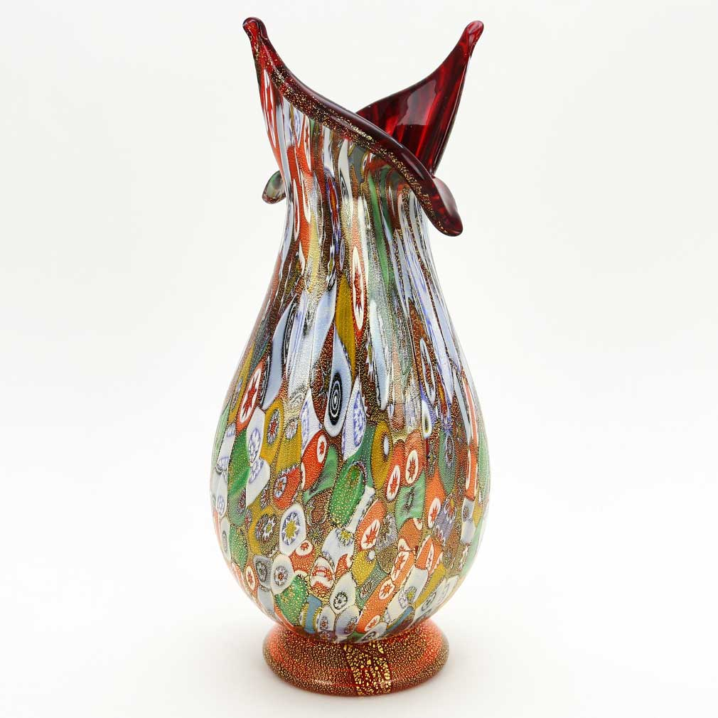 Murano Millefiori Gold Art Glass Vase - Blooming Flower