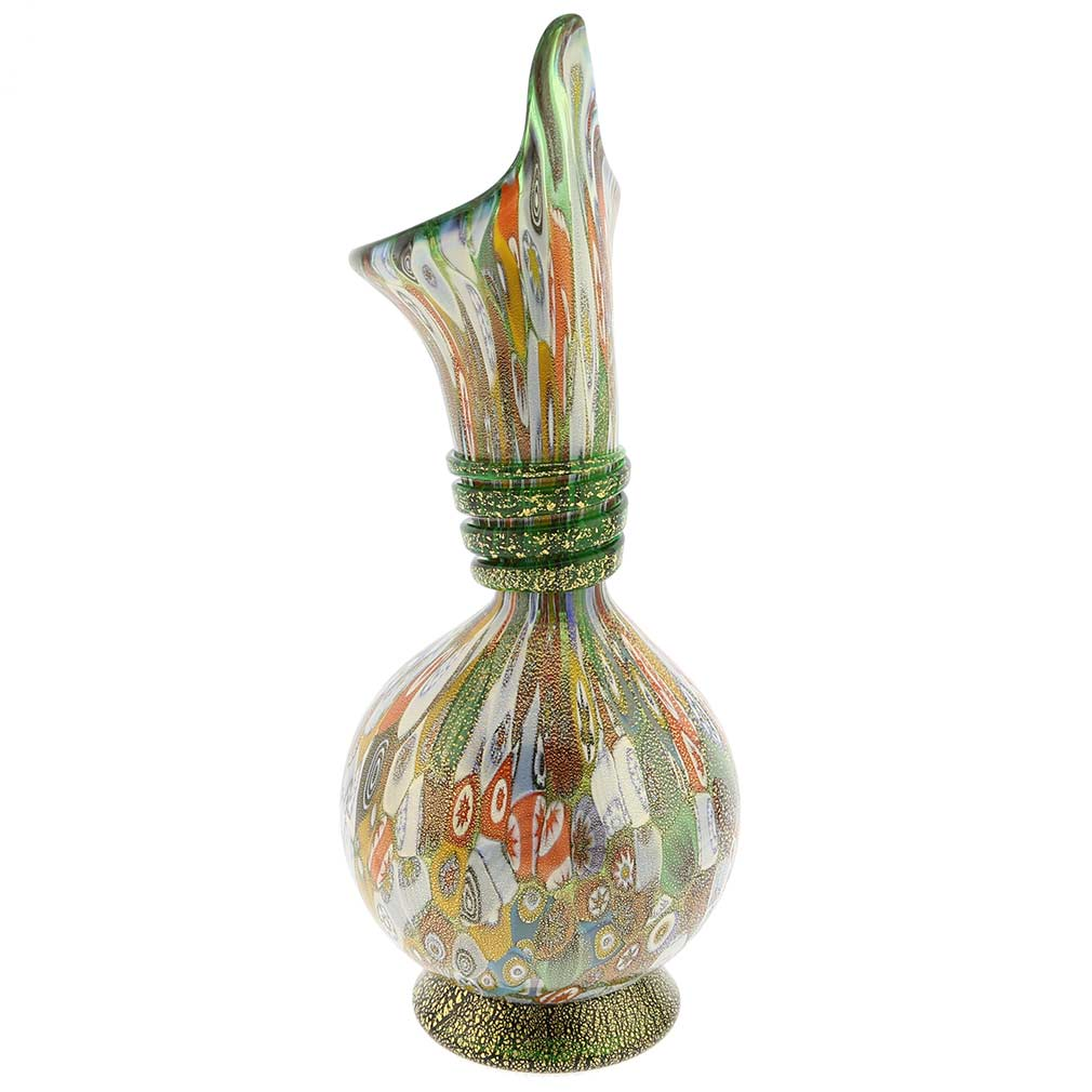 Murano Millefiori Gold Art Glass Calla Lily Vase - Green