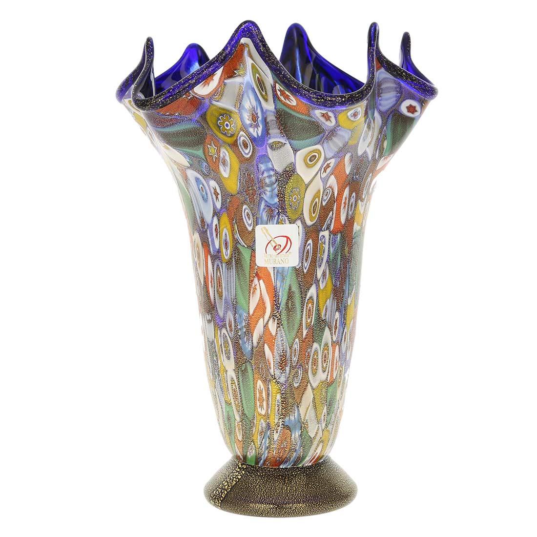Murano Millefiori Gold Art Glass Fazzoletto Vase - Cobalt Blue
