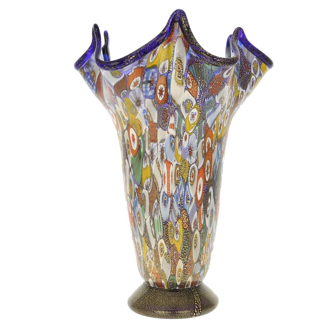 murano glass vases murano millefiori gold art glass fazzoletto vase cobalt blue. Black Bedroom Furniture Sets. Home Design Ideas