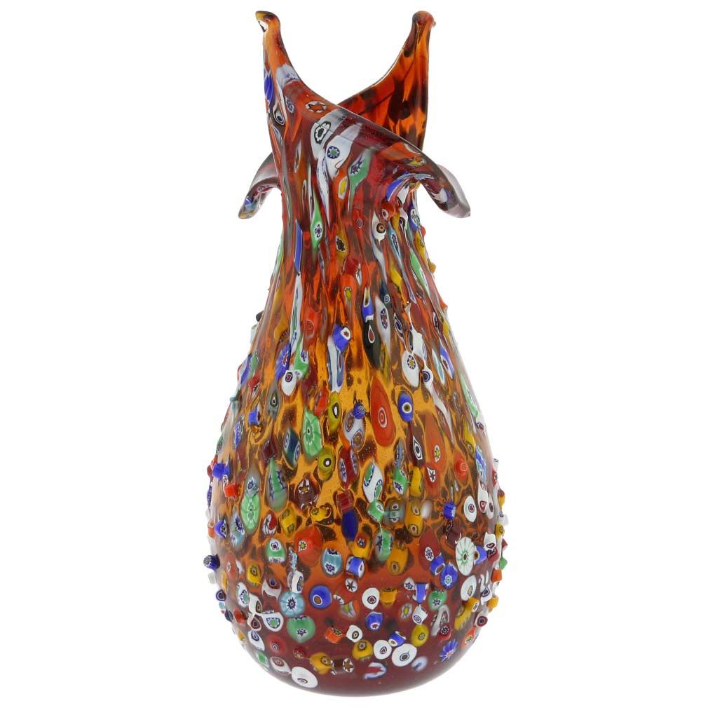 murano glass vases murano millefiori mosaic blooming. Black Bedroom Furniture Sets. Home Design Ideas