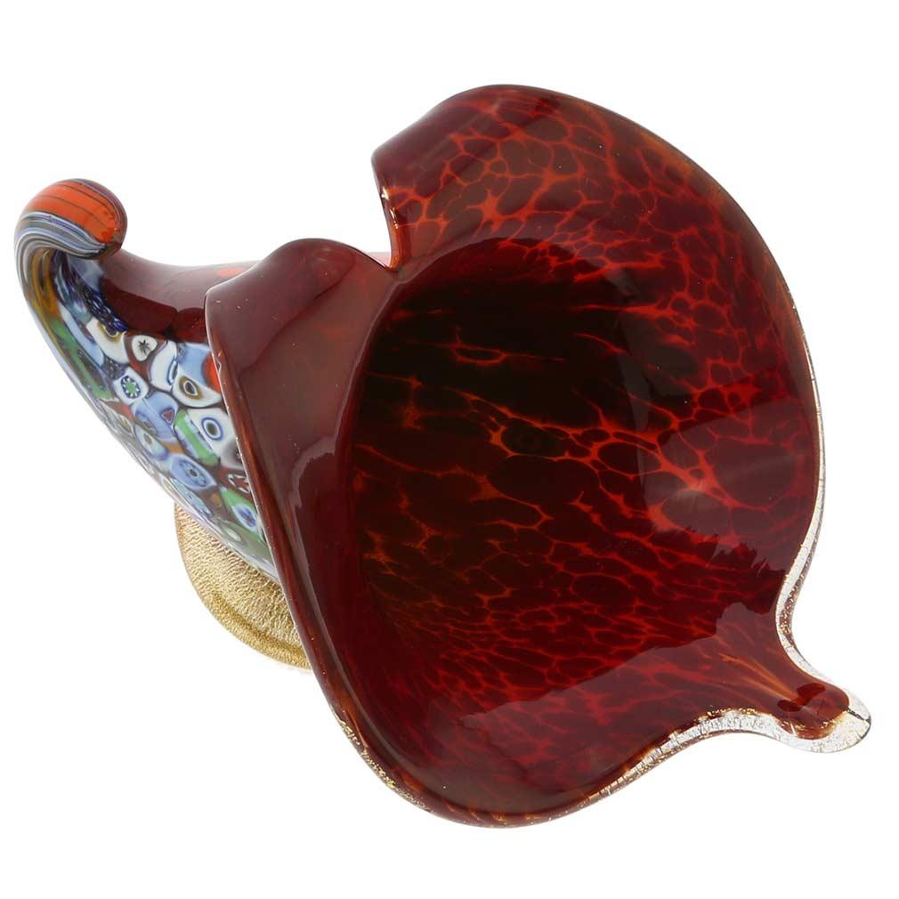 Murano Glass Vases Murano Millefiori Art Glass Horn Of Plenty Sculpture Red