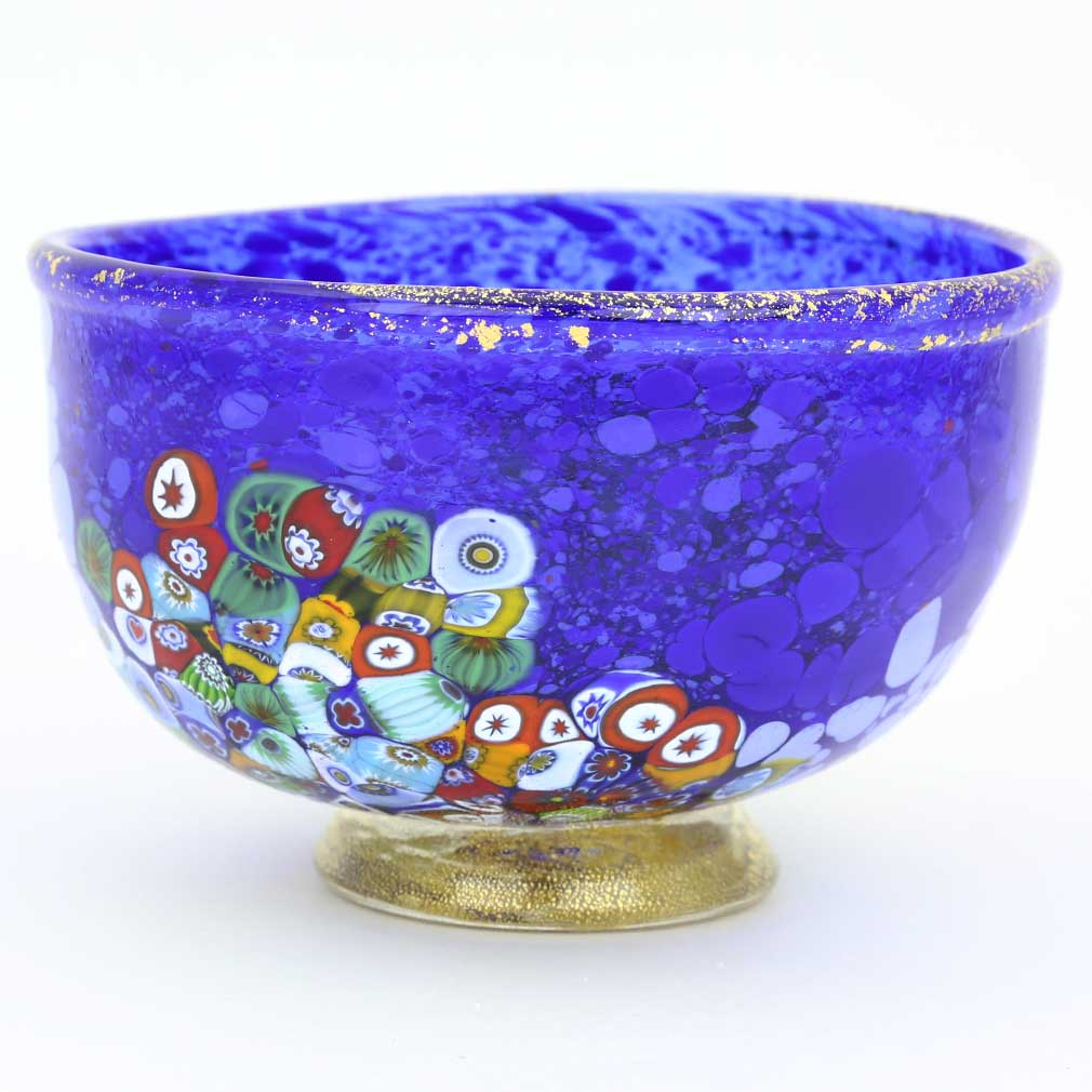 Murano Millefiori Art Glass Bowl - Blue