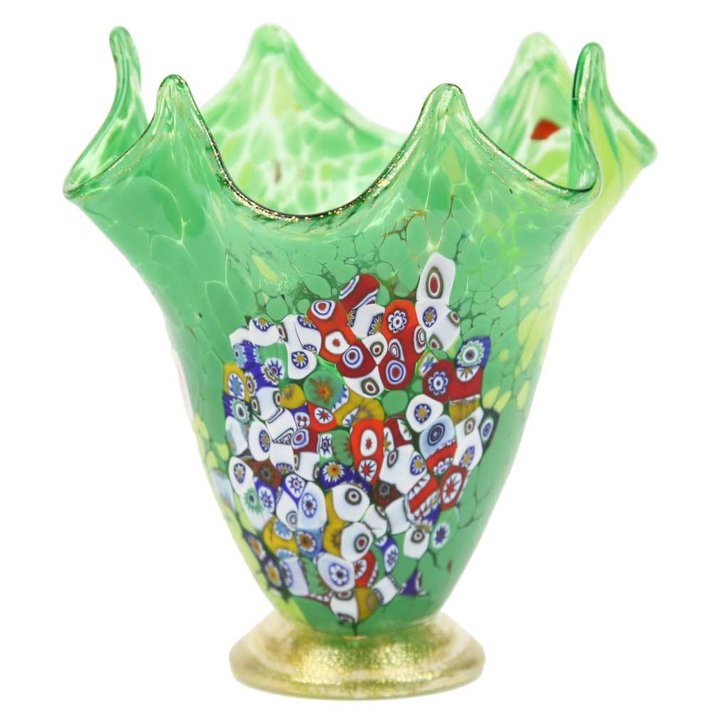 Murano Millefiori Art Glass Fazzoletto Vase - Lime Green