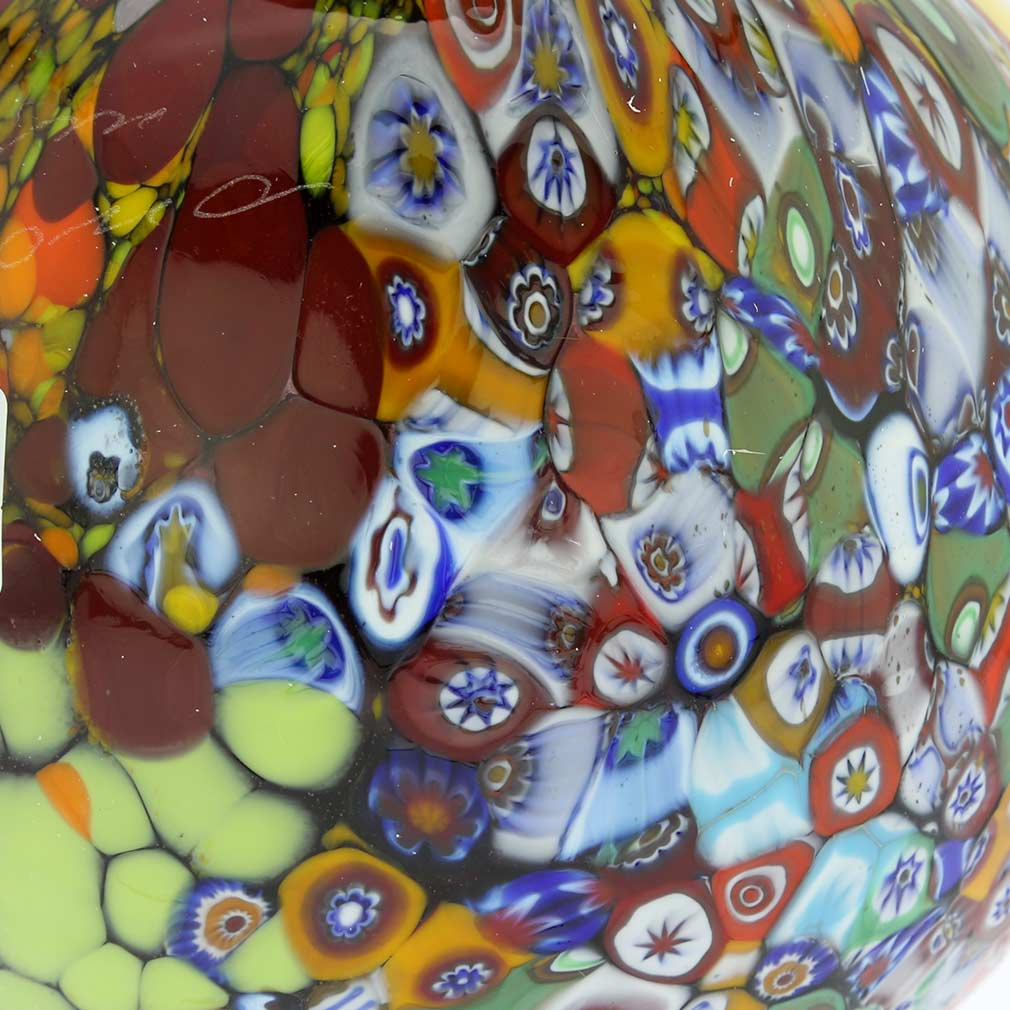 Murano Millefiori Art Glass Vase with handles - Amethyst