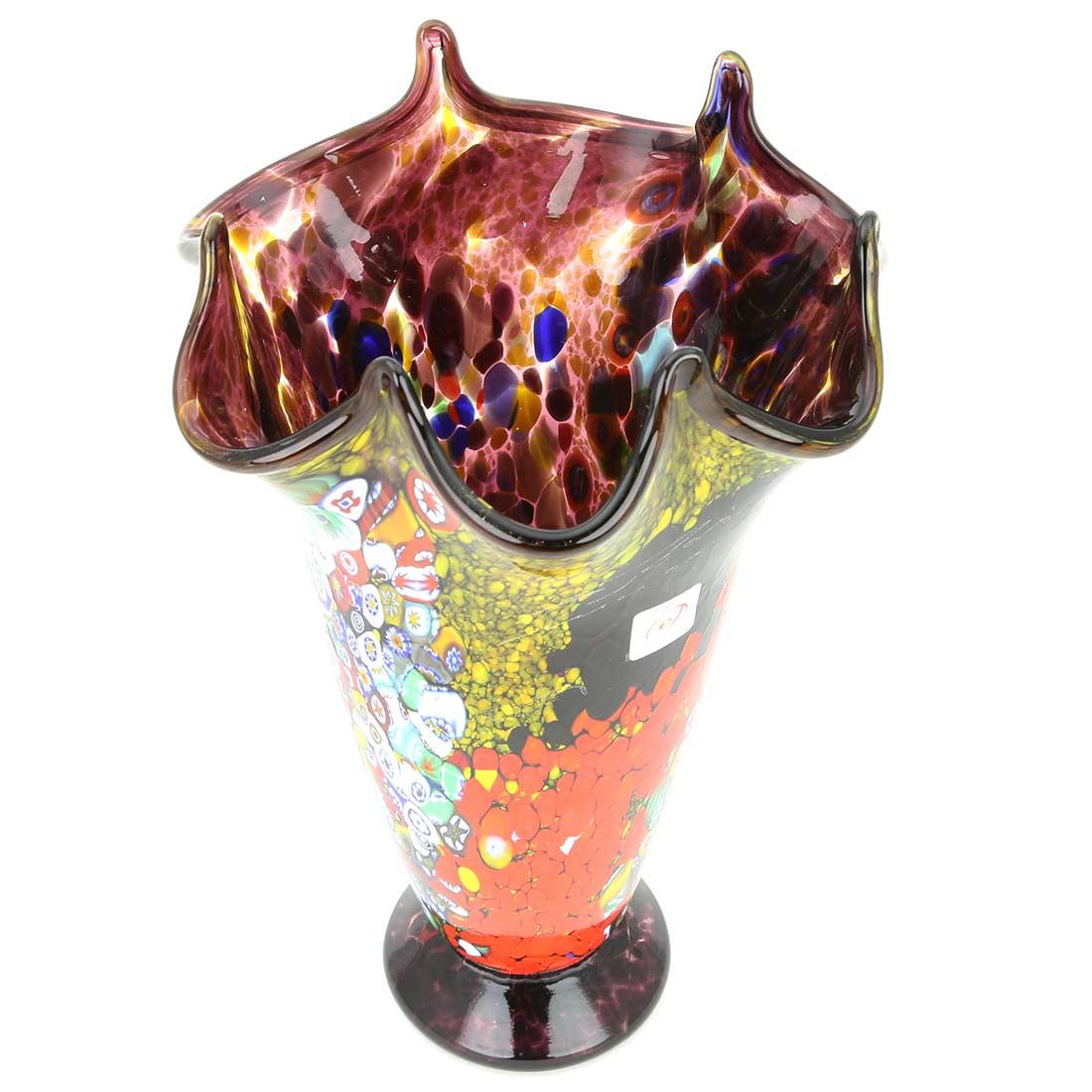 Murano Millefiori Art Glass Fazzoletto Vase - Amethyst
