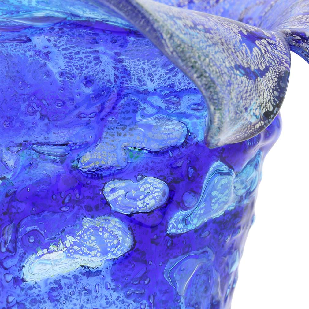 Murano Glass Cornucopia Vase - Blue