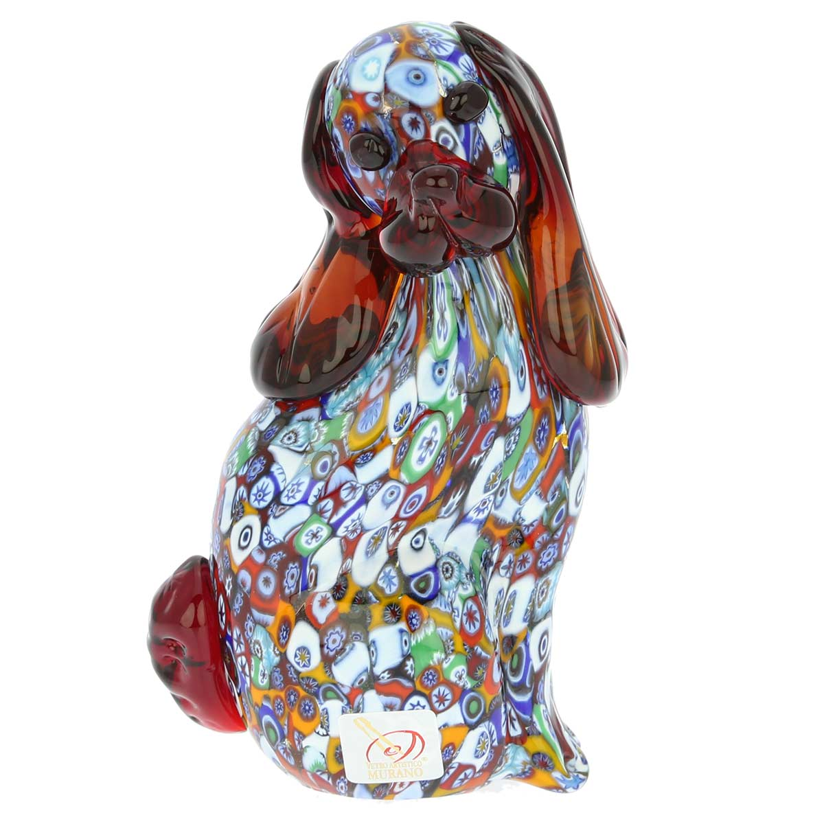 Murano Art Glass Millefiori Dog Sculpture