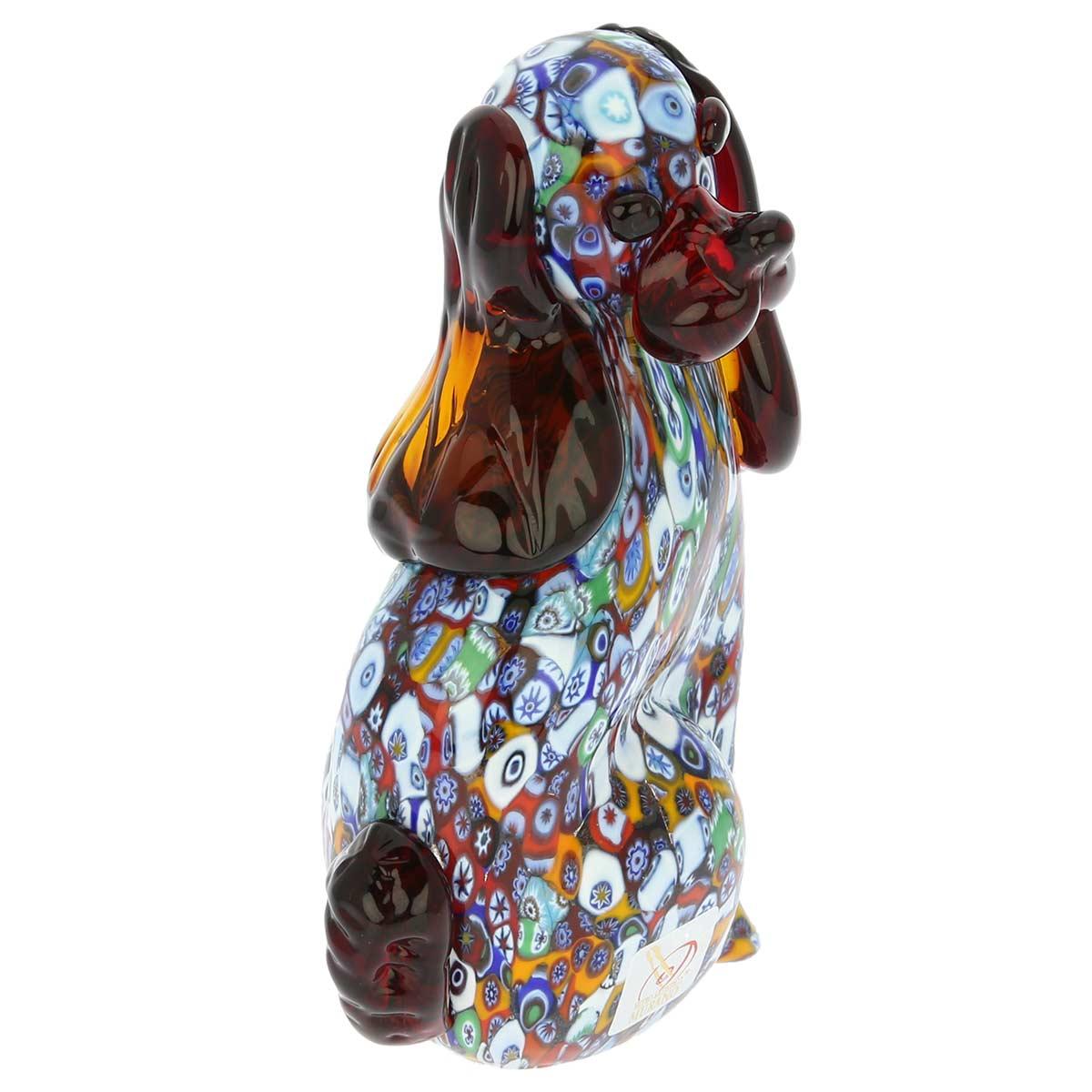 Murano sculptures art glass millefiori dog sculpture