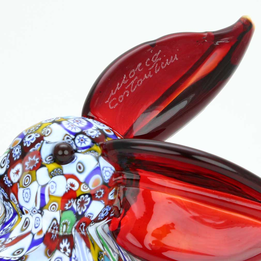 Murano Art Glass Millefiori Rabbit Sculpture