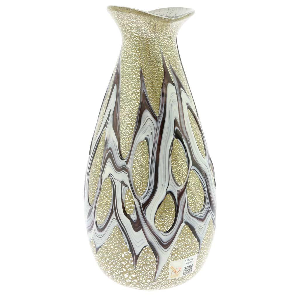 Murano Art Glass Silver Vase - Amethyst Web