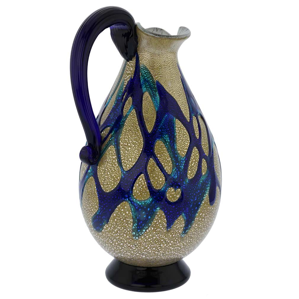 Murano Glass Silver Pitcher/ Carafe - Blue Web