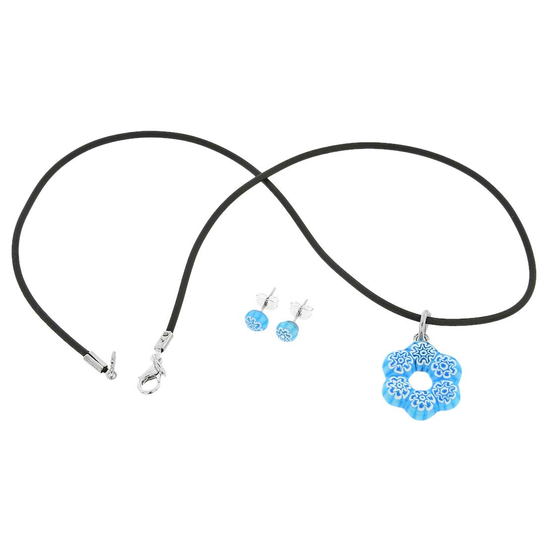 Murano Glass Millefiori Jewelry Set - Aqua Blue