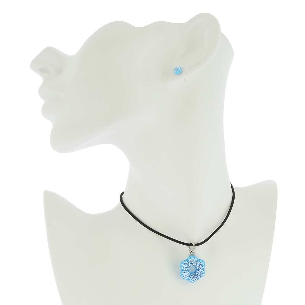 Murano Glass Millefiori Jewelry Set - Aqua Blue