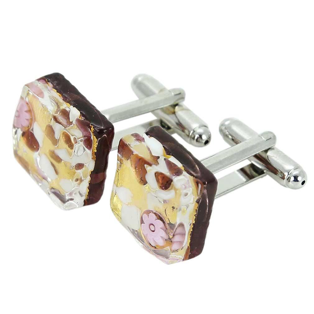 Venetian Classic Square Cufflinks - Purple Gold