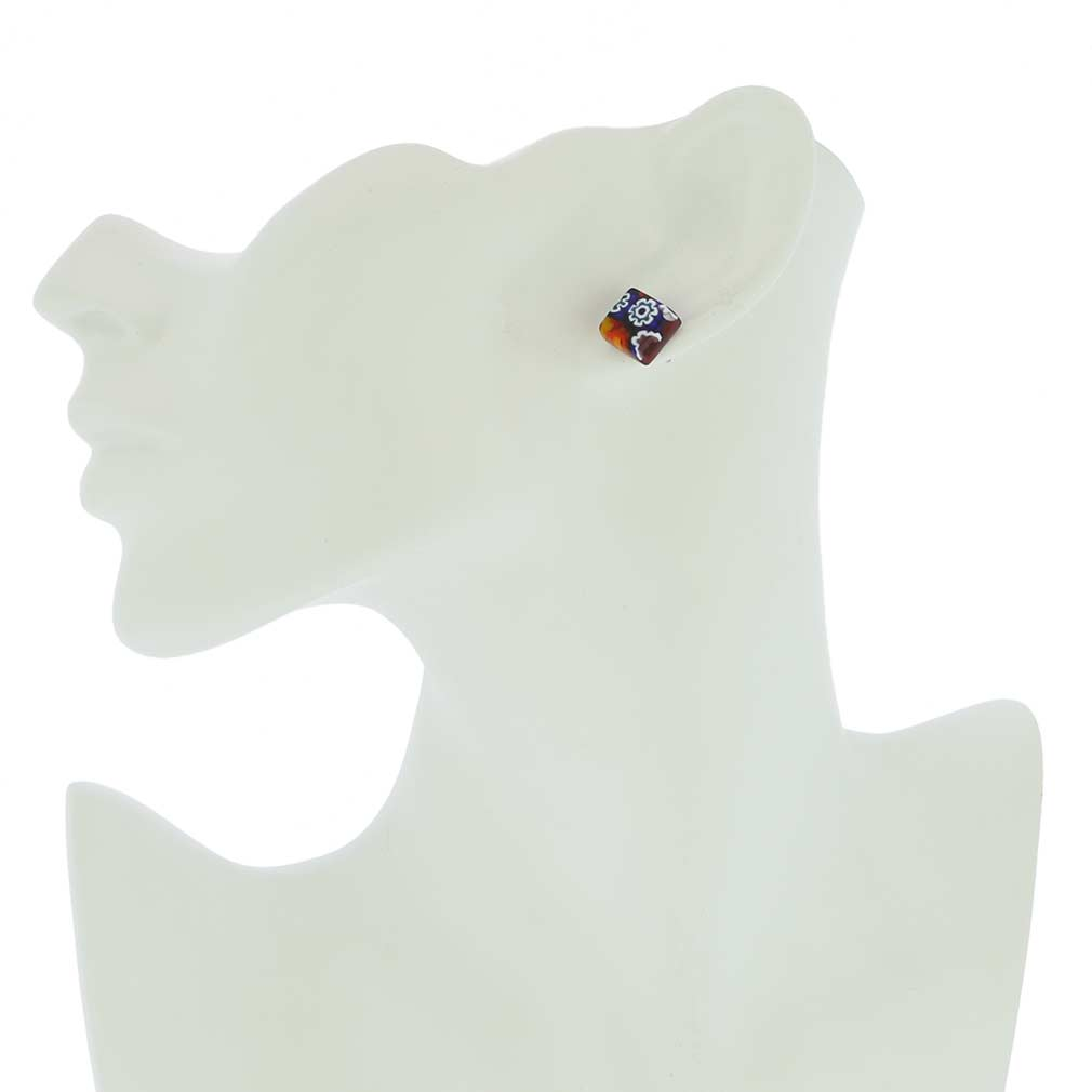 Murano Glass Millefiori Jewelry Set - Red Stripe