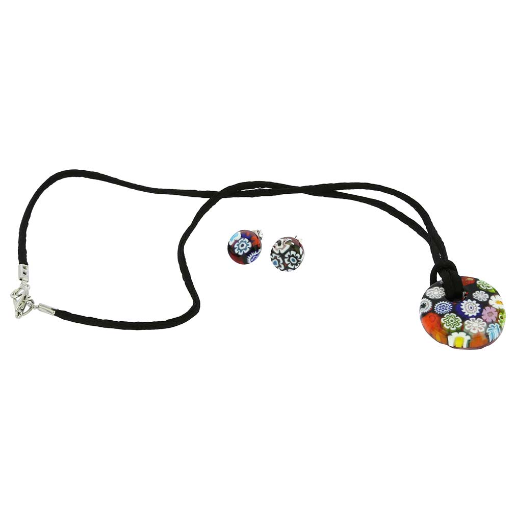 Murano Glass Millefiori Jewelry Set - Round
