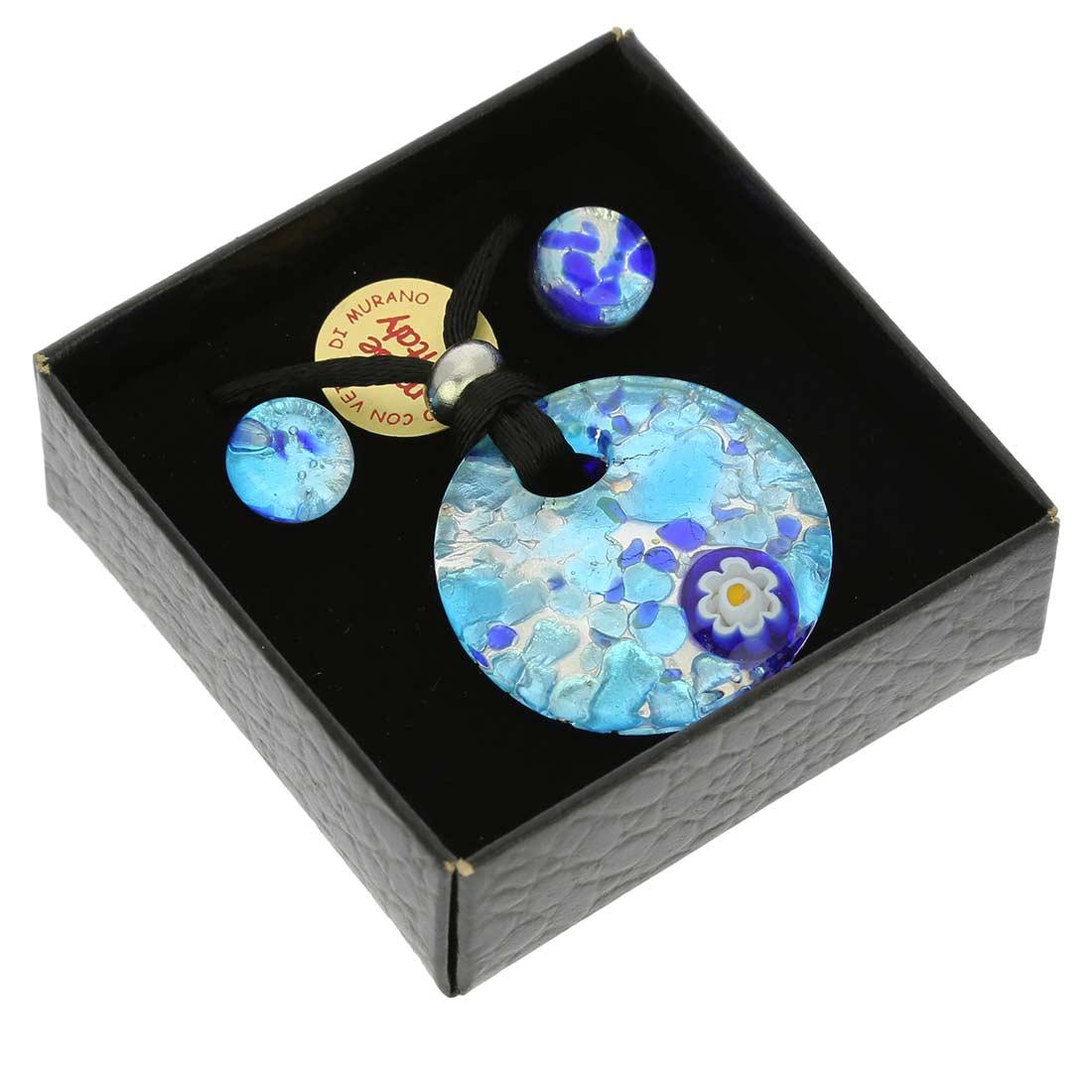 Venetian Reflections Round Jewelry Set - Aqua Blue