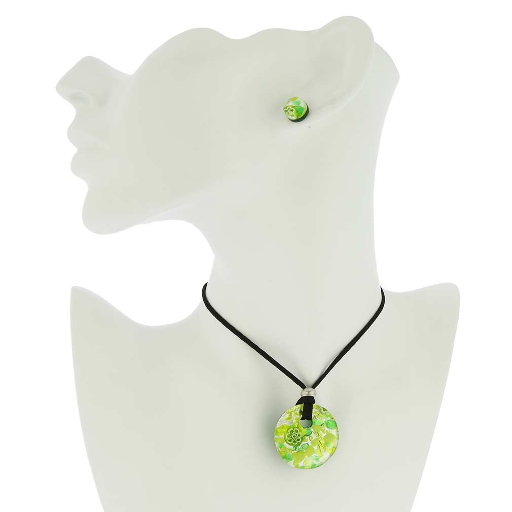 Venetian Reflections Round Jewelry Set - Green Silver