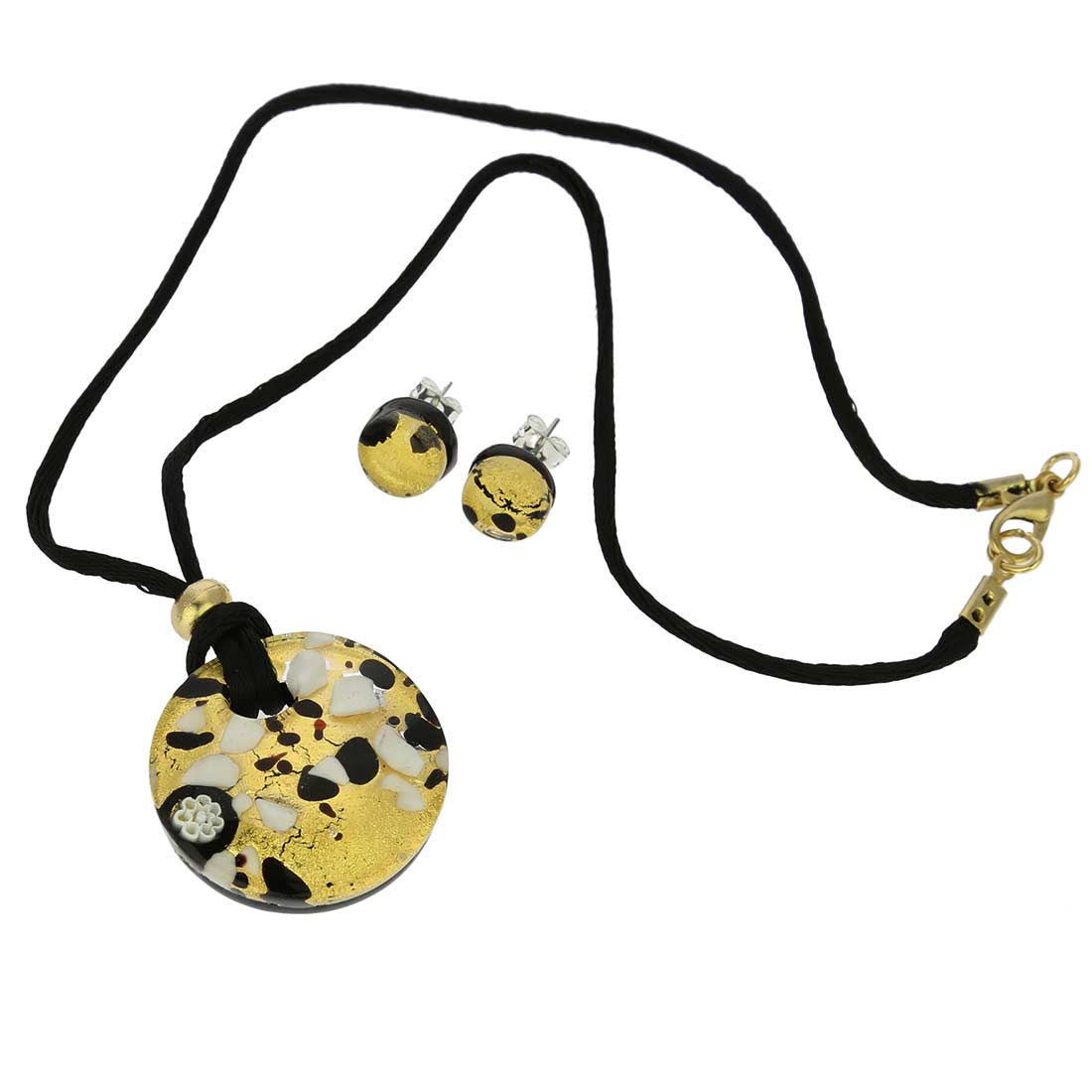 Venetian Reflections Round Jewelry Set - Black Gold