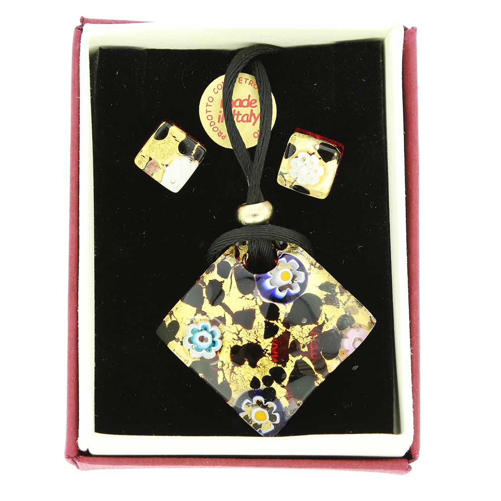 Venetian Reflections Jewelry Set - Gold Millefiori