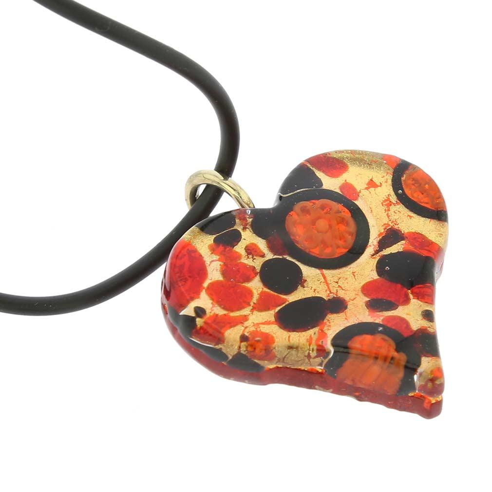 Venetian Reflections Heart Jewelry Set - Black Red