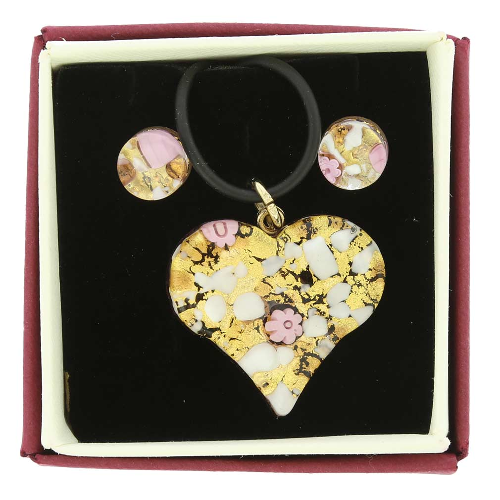 Venetian Reflections Heart Jewelry Set - Purple Gold
