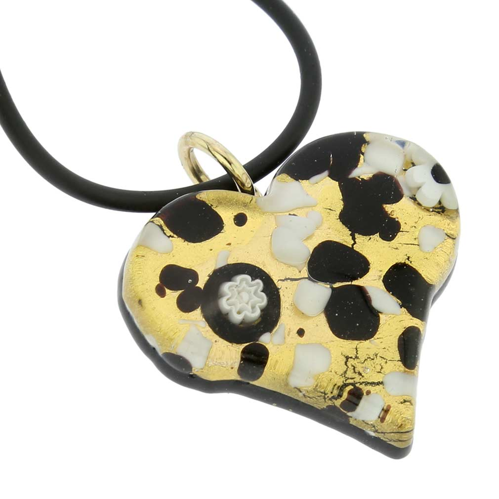 Venetian Reflections Heart Jewelry Set - Black Gold