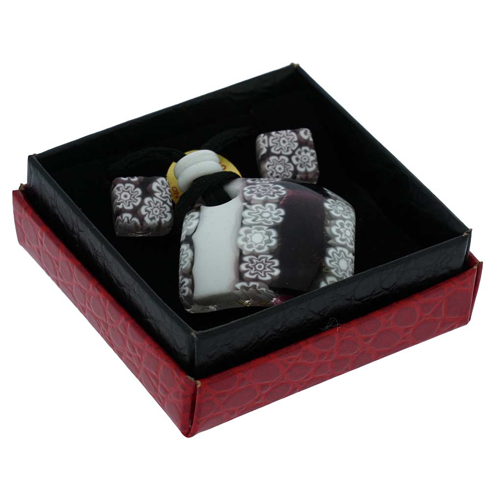 Murano Millefiori Jewelry Set - Red, White and Black