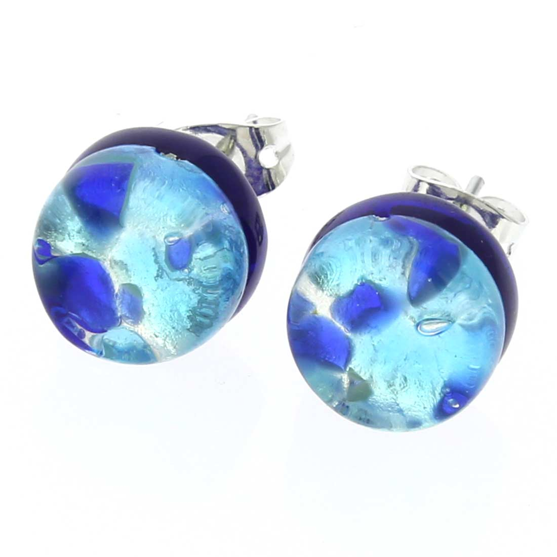 Venetian Reflections Round Stud Earrings - Aqua Blue